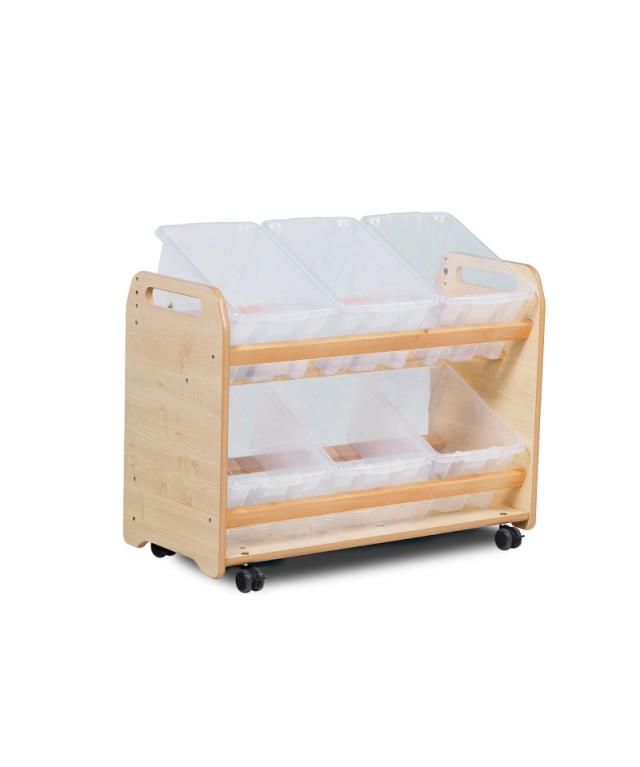 Tilt Tote Storage Trolley with 6 clear tubs