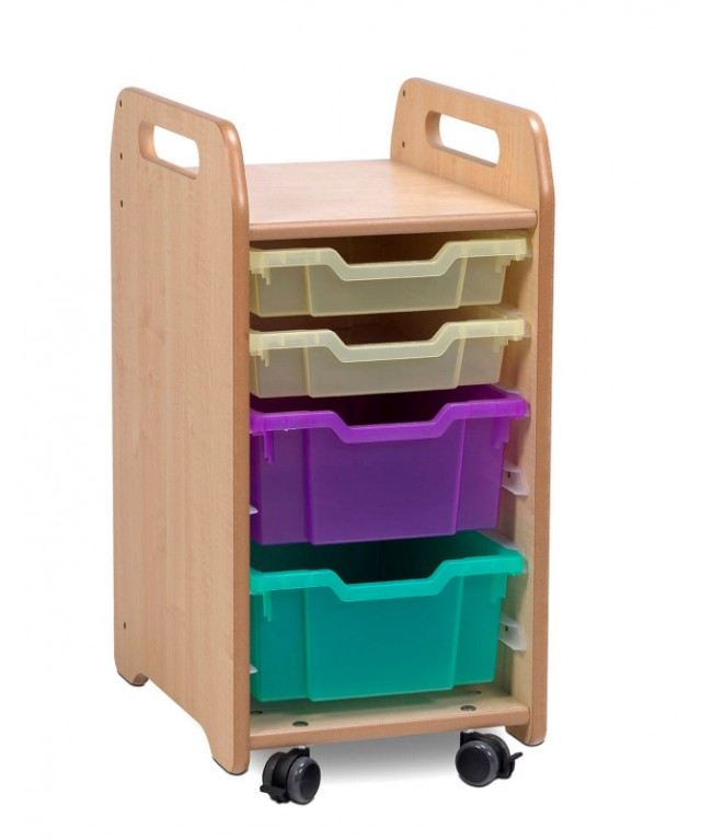 1 Column Tray Storage Unit - 2 Shallow and 2 Deep Trays